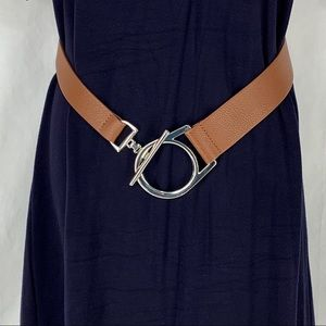 Chicos Stretch Silver Buckle Fashion Belt Large